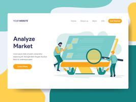 O molde da página da aterrissagem de analisa o conceito da ilustração do mercado. Conceito moderno design plano de design de página da web para o site e site móvel.