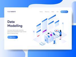 Molde da página da aterrissagem do conceito isométrico da ilustração da modelagem de dados. Conceito de design plano isométrico de design de página da web para o site e site móvel.