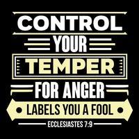 Controle seu temperamento para rótulos de raiva Você é um tolo vetor