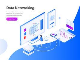 Conceito isométrico da ilustração dos trabalhos em rede de dados. Conceito de design moderno apartamento de design de página da web para o site e site móvel. Ilustração vetorial EPS 10
