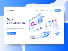 Modelo de página de aterrissagem do conceito de ilustração isométrica de virtualização de dados. Conceito de design plano isométrico de design de página da web para o site e site móvel. vetor