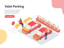 Conceito da ilustração do estacionamento com manobrista. Conceito de design isométrico do design de página da web para o site e site móvel. vetor