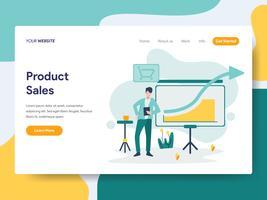 Modelo de página de aterrissagem do conceito de ilustração de vendas de produtos. Conceito moderno design plano de design de página da web para o site e site móvel.