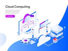Conceito de ilustração isométrica de computação em nuvem. Conceito de design moderno apartamento de design de página da web para o site e site móvel. Ilustração vetorial EPS 10