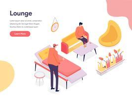 Conceito da ilustração do espaço da sala de estar. Conceito de design isométrico do design de página da web para o site e site móvel.