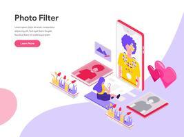 Molde da página da aterrissagem do conceito isométrico da ilustração do filtro da foto. Conceito de design plano isométrico de design de página da web para o site e site móvel.