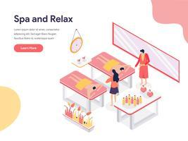 Relaxe e conceito da ilustração da sala dos termas. Conceito de design isométrico do design de página da web para o site e site móvel.