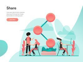 Compartilhar o conceito de ilustração. Conceito de design moderno apartamento de design de página da web para o site e site móvel. Ilustração vetorial EPS 10 vetor