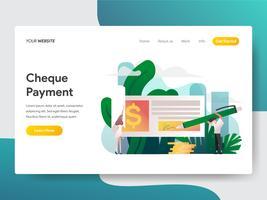Molde da página da aterrissagem do conceito da ilustração do pagamento da verificação. Conceito moderno design plano de design de página da web para o site e site móvel.