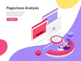 Molde da página da aterrissagem do conceito isométrico da ilustração da análise das pageviews. Conceito de design plano isométrico de design de página da web para o site e site móvel.