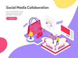 Molde da página da aterrissagem do conceito isométrico da ilustração da colaboração social dos meios. Conceito de design plano isométrico de design de página da web para o site e site móvel.