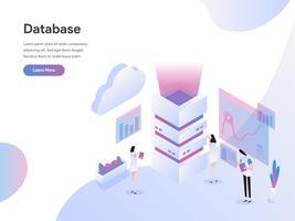 Molde da página da aterrissagem do conceito isométrico da ilustração do servidor de base de dados. Conceito de design plano isométrico de design de página da web para o site e site móvel.