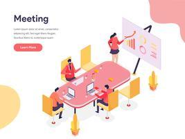 Conceito isométrico da ilustração da sala de reunião. Conceito de design isométrico do design de página da web para o site e site móvel.