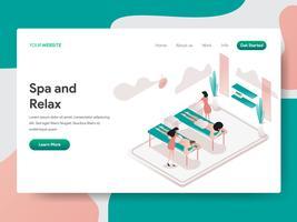 O molde da página da aterrissagem de relaxa e conceito da ilustração da sala dos termas. Conceito de design isométrico do design de página da web para o site e site móvel.