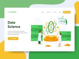 Modelo de página de aterrissagem do conceito de ilustração de ciência de dados. Conceito de design moderno plano de design de página da web para o site e site móvel. vetor