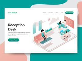 Molde da página da aterrissagem do conceito da ilustração da mesa de recepção. Conceito de design isométrico do design de página da web para o site e site móvel.
