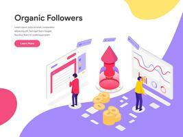 Molde da página da aterrissagem do conceito isométrico da ilustração dos seguidores orgânicos. Conceito de design plano isométrico de design de página da web para o site e site móvel.
