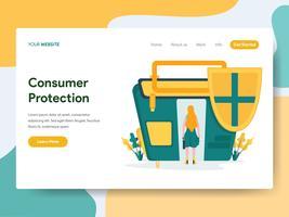 Modelo de página de aterrissagem do conceito de ilustração de proteção ao consumidor. Conceito de design moderno plano de design de página da web para o site e site móvel.