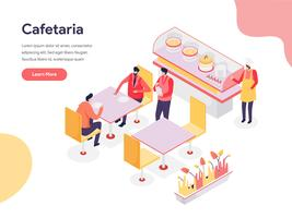 Conceito de ilustração de Cafetaria. Conceito de design isométrico do design de página da web para o site e site móvel. vetor