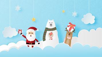 Feliz Natal e feliz ano novo cartão em papel cortado estilo. Ilustração vetorial Fundo de celebração de Natal. Banner, panfleto, cartaz, papel de parede, modelo, exibição de publicidade. vetor
