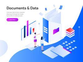 Documentos e dados isométricos ilustração conceito. Conceito de design moderno apartamento de design de página da web para o site e site móvel. Ilustração vetorial EPS 10