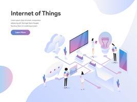 Modelo de página de aterrissagem de Internet das coisas ilustração conceito. Conceito de design moderno plano de design de página da web para o site e site móvel.