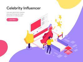 Molde da página da aterrissagem do conceito da ilustração do influenciador da celebridade. Conceito de design plano isométrico de design de página da web para o site e site móvel.
