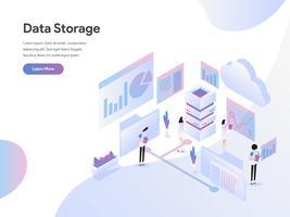 Modelo de página de aterrissagem do conceito de ilustração isométrica de armazenamento de dados. Conceito de design moderno plano de design de página da web para o site e site móvel.