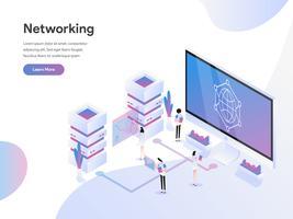 Molde da página da aterrissagem do conceito isométrico da ilustração dos trabalhos em rede dos dados. Conceito de design plano de design de página da web para o site e site móvel.