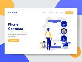 O molde da página da aterrissagem do telefone contata o conceito da ilustração. Conceito moderno design plano de design de página da web para o site e site móvel.
