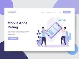 Molde da página da aterrissagem do conceito da ilustração da avaliação de Apps móvel. Conceito moderno design plano de design de página da web para o site e site móvel.