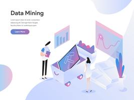 Molde da página da aterrissagem do conceito isométrico da ilustração da mineração de dados. Conceito de design plano isométrico de design de página da web para o site e site móvel.
