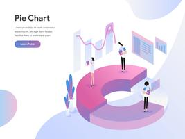 Molde da página da aterrissagem do conceito isométrico da ilustração da carta de torta. Conceito de design moderno plano de design de página da web para o site e site móvel.