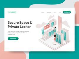 Molde da página da aterrissagem do espaço seguro e do conceito privado da ilustração do cacifo. Conceito de design isométrico do design de página da web para o site e site móvel. vetor