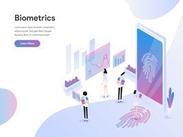 Molde da página da aterrissagem do conceito isométrico da ilustração da tecnologia da biometria. Conceito de design plano isométrico de design de página da web para o site e site móvel.