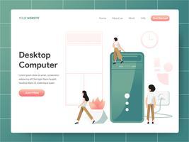 Conceito da ilustração do computador de secretária. Conceito de design moderno de design de página da web para o site e site móvel. Ilustração vetorial EPS 10