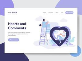 Modelo de página de aterrissagem de corações e conceito de ilustração de comentário. Conceito moderno design plano de design de página da web para o site e site móvel.