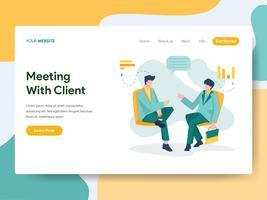 Molde da página da aterrissagem da reunião de negócios com conceito da ilustração do cliente. Conceito de design moderno plano de design de página da web para o site e site móvel.