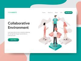 Molde da página da aterrissagem do conceito colaborativo da ilustração do ambiente. Conceito de design isométrico do design de página da web para o site e site móvel.