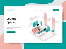 Molde da página da aterrissagem do conceito da ilustração do espaço da sala de estar. Conceito de design isométrico do design de página da web para o site e site móvel.