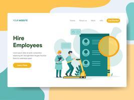 Molde da página da aterrissagem do conceito da ilustração dos empregados do aluguer. Conceito de design moderno plano de design de página da web para o site e site móvel.