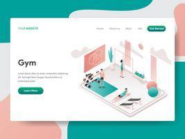 Molde da página da aterrissagem do conceito da ilustração da sala do Gym. Conceito de design isométrico do design de página da web para o site e site móvel.