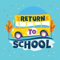 Retornar para a escola frase, ônibus escolar ir para a escola de estrada, volta para ilustração de escola