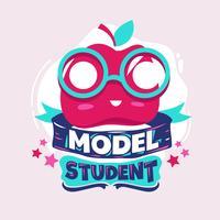 Frase de estudante modelo com ilustração colorida. De volta às citações da escola