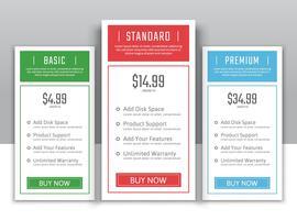 Planos de preços para sites e aplicativos vetor
