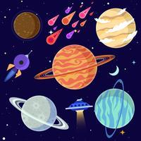 Conjunto de planetas dos desenhos animados e elementos do espaço. Ilustração vetorial