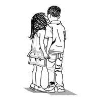Amizade entre duas crianças vetor