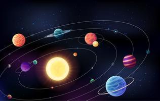 Fundo do espaço com planetts se movendo ao redor do sol em órbitas vetor