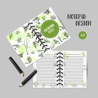 Ervas e especiarias livro culinário. Erva, planta, design de notas de mão desenhada de especiarias. Planejador de alimentos, recepies Gravura orgânica ervas do jardim. Livro de receitas com esboços botânicos