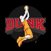 silhueta de basquete slam dunk vetor